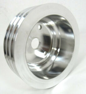 Aluminum Small Block Chevy Sbc Triple Groove Pulley Long Water Pump Lwp Natural