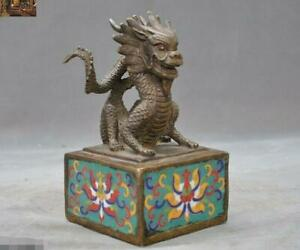 Old China Dynasty Bronze Cloisonne Zodiac Animal Dragon Seal Stamp Signet Statue