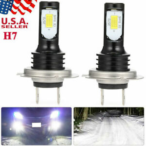 H7 Led Headlight Bulbs Kit High Low Beam 100w 8000lm Super Bright 6500k White Us