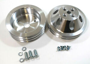 Sbc Small Block Chevy 2 And 3 Groove Aluminum Short Water Pump Pulley Kit