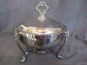 Fb Rogers Silverplate Round Serving Chafing Dish In Stand Rp