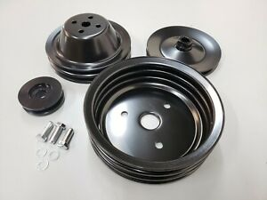 Sbc Small Block Chevy 2 3 Groove Black Steel Short Water Pump Pulley Kit 350