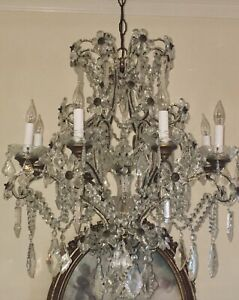Antique Macaroni Beaded Chandelier Crystal Spears Flowers Maison Bagues 8 Light