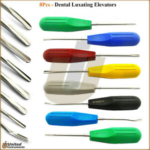 Set Of 8 Dental Root Elevators Tooth Luxation Instruments Plastic Color Handle