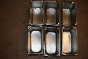 Used Restaurant Dishes 6 stainless Steel 1 3 Deep Steam Table Pan Non Magnetic