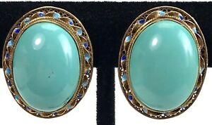 Chinese Tourquoise Filigree Silver Vermeil Enamel Earrings Quality