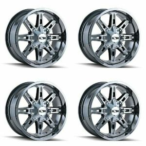 Set 4 17 Ion 184 Pvd Chrome Rims 17x9 5x4 5 5x5 18mm Jeep Ford Gmc 5 Lug Truck