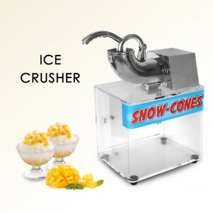 200w Commercial Eletric Ice Crusher Ice Shaver Snow Cone Machine Acrylic Box