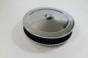 10 X 2 Chrome Round Air Cleaner Blue Washable Element Chevy Sbc 350 Bbc 454