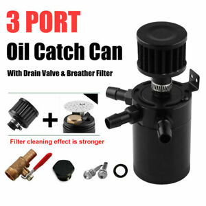 3 Port Oil Catch Can Tank Reservoir With Drain Valve Breather Universal