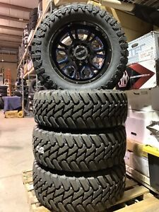 New 8 Lug 8x165 20x9 12mm Blue Wheels On 35 12 5 20 E Aturro Mt Tires