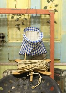 Vintage Clothes Pin Bag With Pins Clothes Line With Wooden Reel