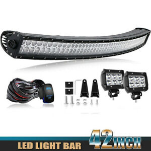 For Dodge Ram 1500 3500 2003 2018 Bumper 42 Led Curved Light Bar Wiring
