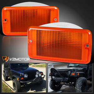 For 1997 2006 Jeep Wrangler Tj Amber Front Turn Signal Lights Parking Lamps Pair