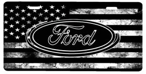 American Flag Tactical Black And White Ford Aluminium License Plate