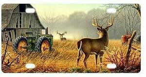Cool Old Tractor And Cute Deer Aluminium License Plate Highest Quality