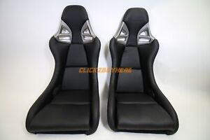 Gt 997 Style Black Pu Leather Bucket Racing Seat Carbon Fiber Back Pair 2 Seats