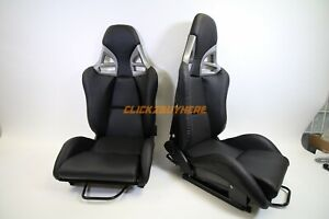 Gt 997 Style Pu Leather Recline Racing Seat Carbon Fiber Back Pair 2 Seats