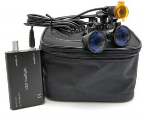 Dental 3w Led Head Light With Filter 3 5x Binocular Loupes Magnifier Black