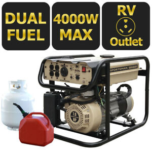 Dual Fuel Gas Generator Portable Hybrid Home Rv Camping Emergency Backup 4000 W