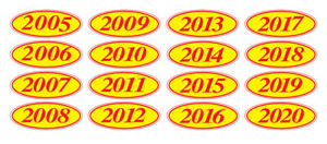 Ez line Car Dealer Oval Model Year Stickers Large Windshield Stickers Red Yellow
