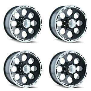 Set 4 16 Ion 174 Black Machined Wheels 16x8 8x170 5mm Lifted Ford 8 Lug Rims