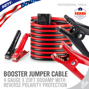 Booster Jumper Cables 4 Gauge 20ft 600amp Reverse Surge Protective Devices Bag
