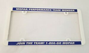 Mopar License Plate Frame White Blue