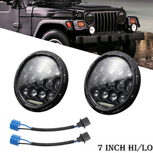2x 7 Inch 300w Led Headlights Hi Lo Beam For 1997 2017 Jeep Wrangler Jk Tj Lj Yj
