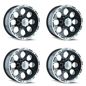 Set 4 17 Ion 174 Black Machined Truck Wheels 17x9 5x135 0mm 5 Lug Rims