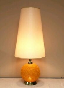 Vintage Spaghetti Table Lamp Orange Spun Plastic Retro Mid Century Modern Works