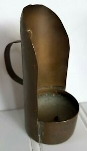 Antique Small Early Lighting Primitive Tin Candle Chamber Stick Holder Table Top