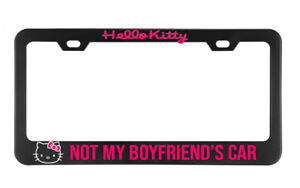 Hello Kitty Not My Bf S Car License Plate Frame Black Metal Holder Customizable