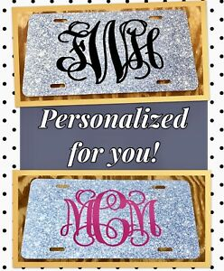 Personalized License Plate Monogram Silver Imitation Glitter Car Tag Initials