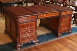 Solid Mahogany Satinwood Banded Leather Partners Desk W File Drawers Mint 3pc