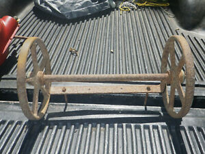 Antique 12 Industrial Rr Warehouse Cart Table Wheels Cast Iron W Axel Mount