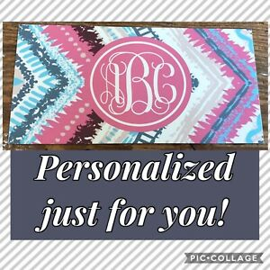 Personalized Pink Chevron License Plate Monogram Car Tag Custom Pink Car Tag