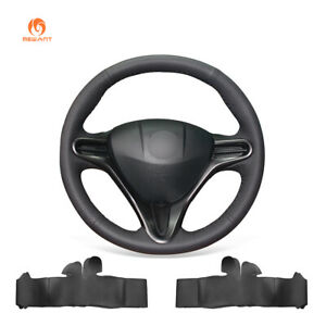 Diy Black Pu Leather Steering Wheel Cover Wrap For Honda Civic Civic 8 2006 2011
