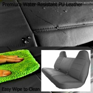 Black Pu Leather Front Bench Seat Cover Molded Headrest F series Truck Thick