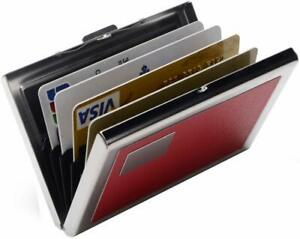 Red Rfid Credit Card Holder Protector Stainless Steel Credit Card Wallet Slim