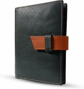 Black Rfid Anti Theft Genuine Leather Passport And Card Holder Wallet
