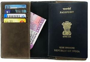 Brown Slot Vertical Leather Dual Passport Case Card Holder Bhanu Packaging
