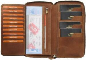 Genuine Leather Unisex Passport Holder Credit Cards Wallet Bhanu Packaging