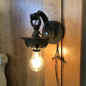 Antique Craftsman Arts Crafts Copper Outdoor Wall Sconce