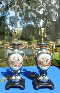 Pair Of Ornate Asian Oriental Gilded Porcelain 28 Two Handled Table Lamps