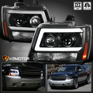 For 2007 2013 Chevy Avalanche Tahoe Suburban Black Led Tube Projector Headlights