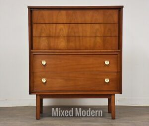 Cherry Dresser By Dixie Mid Century Modern Brass