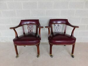 Hickory Chair Chippendale Style Leather Arm Chairs A Pair