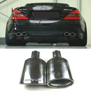 1pc Amg Style Oval Exhaust Pipe Tip 2 25 Inch Stainless Steel For Mercedes Benz