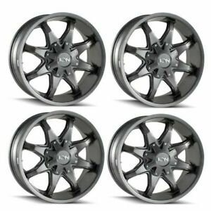 Set 4 20 Ion 181 Graphite Truck Wheels 20x9 8x180 18mm 8 Lug Rims